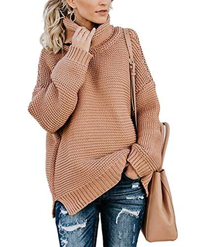 Yidarton Pullover Damen Rollkragenpullover Strickpullover Lässiges Stricken Pulli Winter Sweatshirt Oberteile Elegant, Rosa, XL