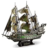 CubicFun 3D Puzzles for Adults Green LED Flying Dutchman Pirate Ship Model Kit, Lighting Ghost Ship 3D Puzzle Family Puzzle, Desk Decor Birthday Gifts for Women Men, 360 Pieces