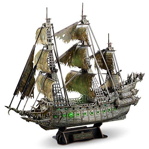 CubicFun 3D Puzzles for Adults Green LED Flying Dutchman Pirate Ship Model Kit, Lighting Ghost Ship...
