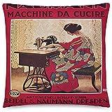 GodYo Cartel Vintage - Máquina de Coser Naumann 0730 - Relleno Cuadrado de Funda de Almohada - 18 x 18