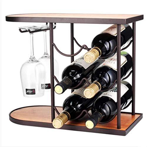 ZEL Botellero Multifuncional, Madera y Metal, Tapa Superior con Madera Antigua, Gancho extraíble para Copa de Vino para Mayor Estabilidad, Reutilizable