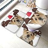 3 unids antideslizante alfombra de baño, sombrero de reno para perros impreso antideslizante alfombras de baño baño y tapa de inodoro, en forma de U contorno de baño