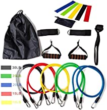 Home Fitness Equipment 17Pcs/Set Latex Resistance Bands Gym Door Anchor Ankle Straps With Bag Kit Set Yoga Exercise Fitness Band Rubber Loop Tube Bands for Exercise Training