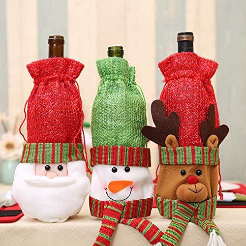 3 x Weinflaschenabdeckungen Weihnachtsmann Schneemann Rentier Muster Flasche Wrap Party Festival Dinner Tischdekoration