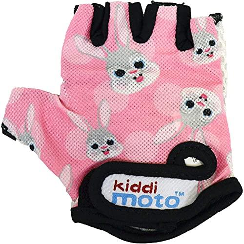 KIDDIMOTO Kinder Fahrradhandschuhe Fingerlose für Jungen und Mädchen/Fahrrad Handschuhe/Bike Kinder Handschuhe - Rosa Hase - M (4-8y)
