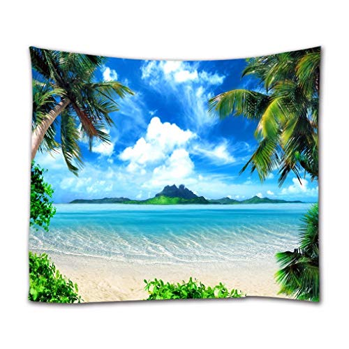 A.Monamour Tapices Isla Tropical Costa Playa Palmeras Cielo Azul Nubes Blancas Naturaleza Paisaje Tela Impresa Hippie Mandala Tapiz Arte De Pared Tapices Mantel Colcha 180x230cm
