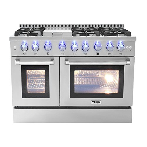 """Thor Kitchen 48"""" Free Standing&Slide- in Gas Range 6 Burners 1 Griddle 6.7cu.ft Oven Propane/NG Double Oven with (HRG4808U-LP)"""