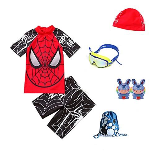 Hflyy Traje Baño Spiderman Niños Traje Baño Superhéroe Niños Traje Surf Verano Niños Regalo Avenger Traje De Baño Traje De Baño Protección Solar Pantalones Cortos De Playa,Black-M/85~95CM