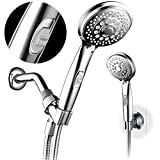 Hotel Spa 7-Setting AquaCare Series Spiral Handheld Shower Head Luxury Convenience Package with Pause Switch, Extra-Long Hose Plus Extra Low-Reach Bracket Stainless Steel Hose - All-Chrome Finish