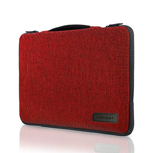 """PROXA Laptop Sleeve 13"""", Water Resistant Shock Absorbent Dual Layer Carrying Case with Handle, Side Pocket for MacBook Pro/Air 13, Surface Pro/iPad Pro 12.9, Dell XPS 13 2020 (13-13.3', Burgundy Red)"""