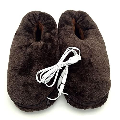 Safe Usb - Calentador de pies de invierno portátil suave y práctico para el hogar, 1 par de zapatillas de calefacción eléctrica para el hogar y la oficina