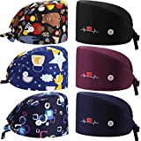 Geyoga 6 Pieces Adjustable Working Caps with Button Gourd Tie Back Bouffant Hats Sweatband Caps Breathable Hair Cover for Women Men