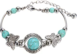 Rape Flower💗 Natural Turquoise Carved Butterfly Pendant Bohemian Women's Bracelet Jewelry