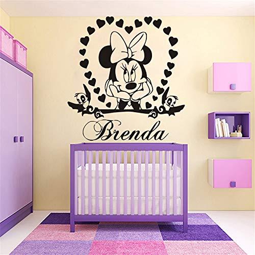Minnie Mouse Wandtattoo Kunst Minnie Mouse Name Personalzied Fototapete Mädchen Schlafzimmer Herz Name Diy Dekoration Aufkleber Adesivo