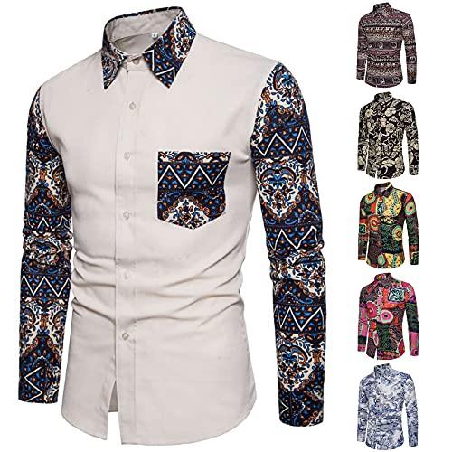 Camisa de manga larga para hombre, informal, de lino, con cuello de solapa, multicolor, tropical, para ocasiones especiales, con estampado, de manga larga, multicolor, exótica, Oro D., L