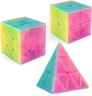 D-FantiX Qiyi Jelly Stickerless Speed Cube Set, Qidi S 2x2 Warrior W 3x3 Qiming Pyramid Magic Cube Puzzle Toys