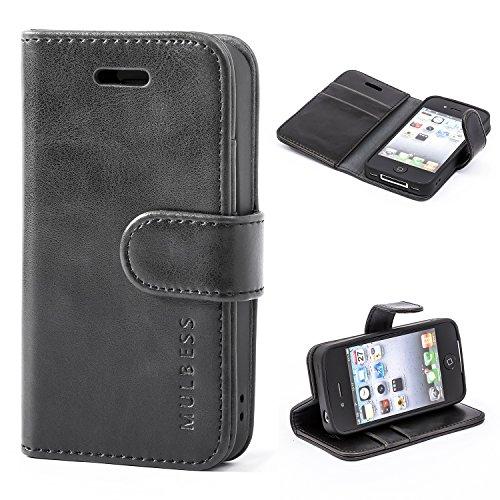 Mulbess Coque pour iPhone 4s, Etui iPhone 4s Cuir avec Magnetique, Housse Protection pour iPhone 4 / 4s Case, Noir