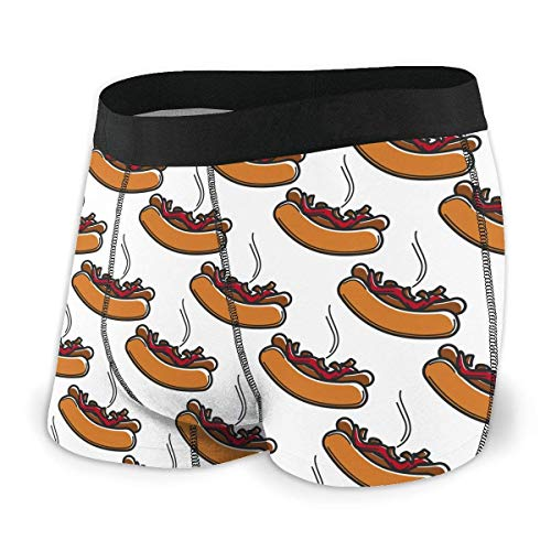 xianjing6 Herren Unterwäsche Boxershorts Hot Dog with Ketchup and Fried Onions Mens Boxer Briefs Cool Underwear Shorts for Men Quick Dry