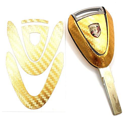 Sleutelfolie PB voor 3 toetsen auto sleutel cover folie decor sticker Carbon Gold