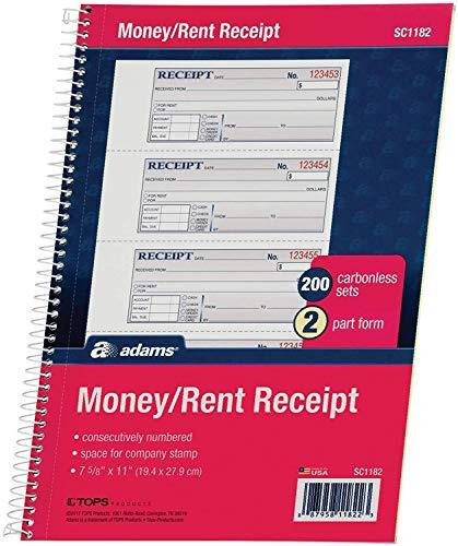 Adams Libro de recibos de dinero y alquiler, 2 partes, sin carbono, 7-5/8 pulgadas x 11 pulgadas, encuadernado en espiral, 200 juegos por libro, 4 recibos por página, blanco/canario – 1 paquete