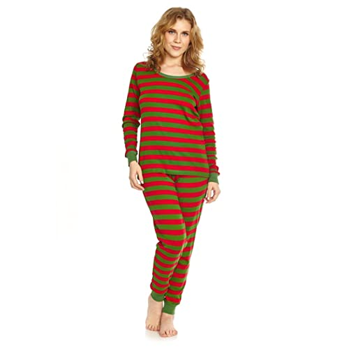 ce57cde061dc Leveret Women s Pajamas Fitted Striped 2 Piece Pjs Set 100% Cotton Sleep  Pants Sleepwear (
