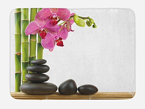 Ambesonne Spa Bath Mat, Orchid Bamboos and Black Hot Stone Massage Image Print, Plush Bathroom Decor Mat with Non Slip Backing, 29.5' X 17.5', Pink Green