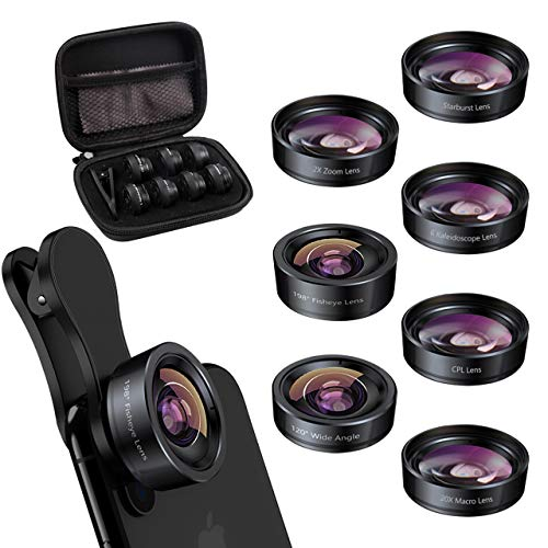 Keywing iPhone Lens Kit Fisheye Phone Lens Upgraded 7in1 Kits, Telephoto Lens+198° Fisheye +120 Wide Angle + 20X Macro Lens + CPL + Kaleidoscope +Starburst for Samsung Android iPhone 11 12 X Xr pro