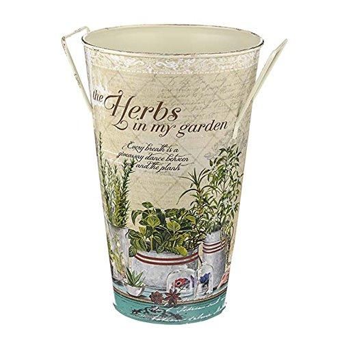 Vase décoratif en métal pour herbes aromatiques - 26 cm - Idéal pour mettre dans un joli bouquet de fleurs ou une belle plante à l'intérieur ou à l'extérieur.