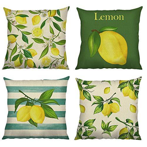 Bonhause Juego de 4 Funda de Cojín 45x45cm Limón de Verano Fruta Amarillo Algodón Lino Fundas de Almohada para Cojines Decorativos para Sofá Cama Coche Hogar