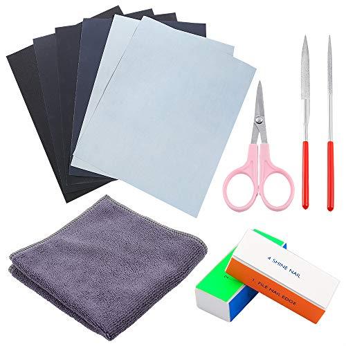 Sntieecr 12-teiliges Kunstharzgussformen-Set, inklusive Sandpapier, Polierblöcken, Poliertuch, runde Feile, halbrunde Feile und Schere zum Polieren von Epoxidharz, Schmuckherstellung.