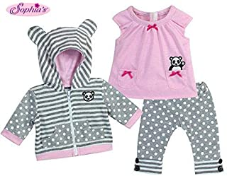 Sophia's 15 Inch Baby Doll Outfit in Pink & Gray, Complete 3 Pc Set Includes Panda Bear Tunic, Leggings & Sweatshirt Panda for Bitty Baby & More!