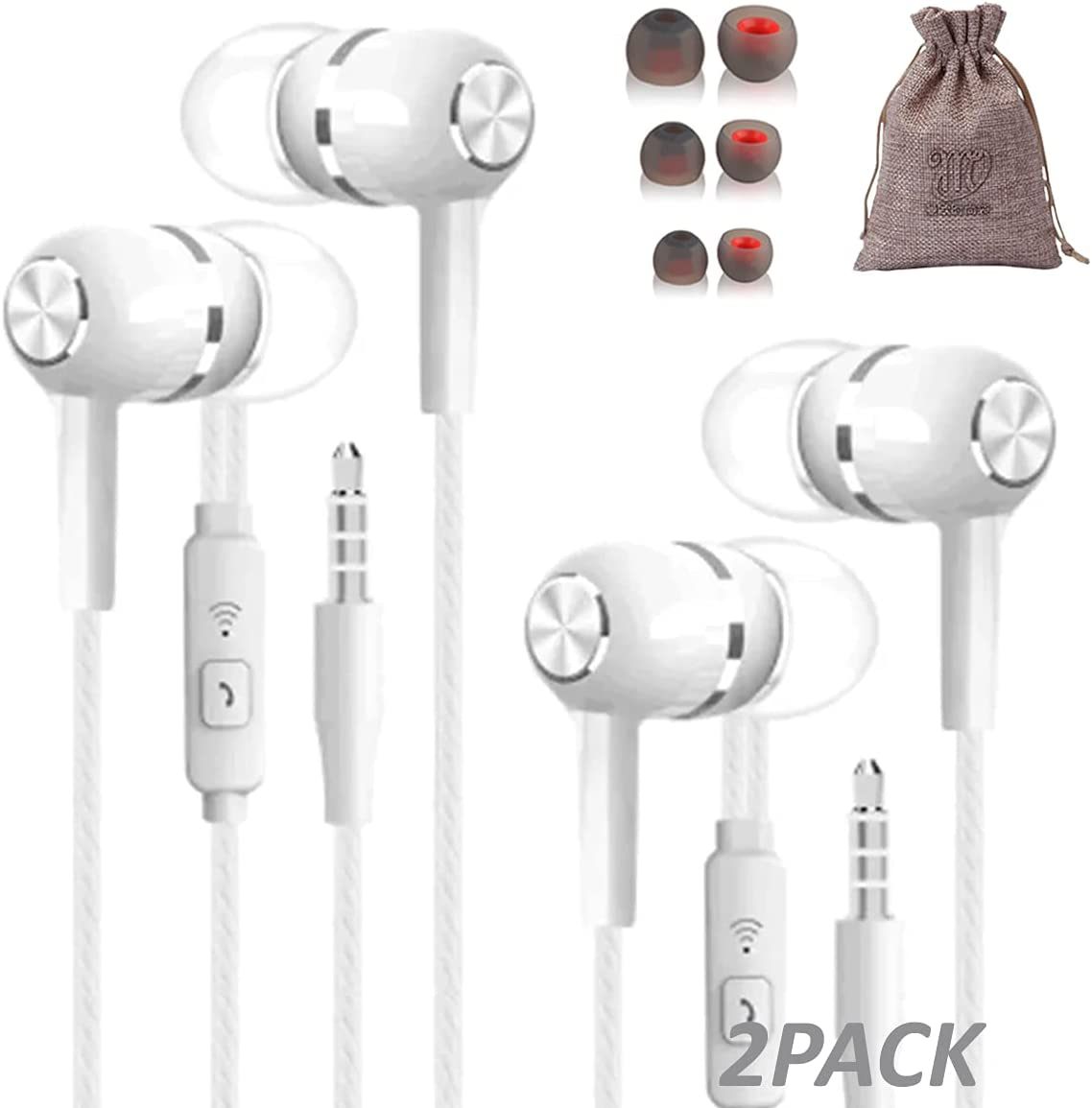 2 Pack White Wired Headphones Noise Cancelling Earbuds with mic in Ear Buds Best for iPhone Android Mobile Phones with Microphone 3.5mm Plug Cell Phone Set Bulk kopfhörer mit mikrofon dell Laptop