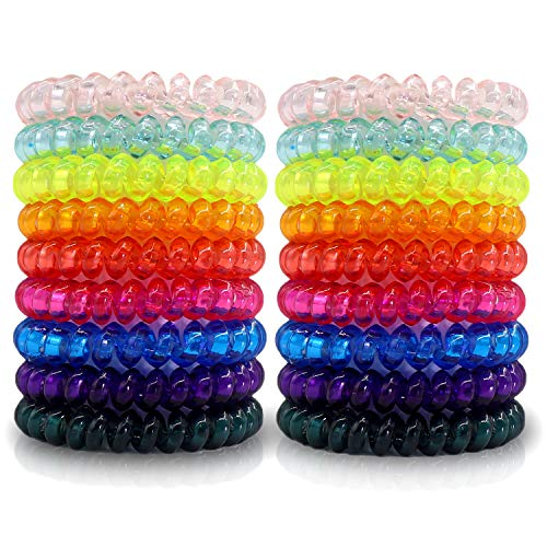 79STYLE 50pc Spiral Coil Hair Ties No Crease Phone Cord Hair Ties Colorful Plastic Scrunchies Ponytail Holder Spiral Rubber Hair Bands Coils For Women Thick Thin Hair (Crystal10 Colors -Large Size)