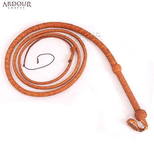 Ardour Crafts Cow Hide Leather Bull Whip 10 Feet Long 12 Plait Tan Bullwhip Loud Crack and Heavy Duty