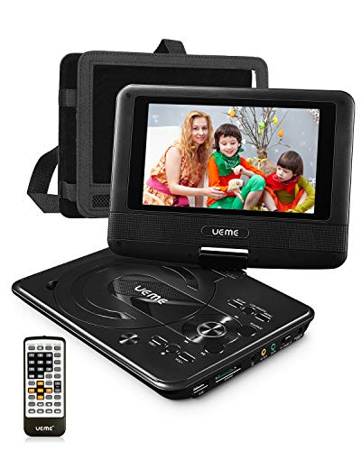Best Prices! UEME Mini DVD Player for Kids with 7 inches Swivel Screen and Internal Rechargeable Bat...