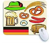 COFEIYISI Tappetino per Mouse,Oktoberfest Simbolo Birra Salsiccia di frumento e salatini Colorati Disposizione Bavarese,Superficie Liscia in Gomma Antiscivolo Mouse Pad