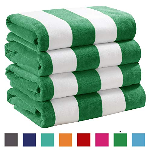 """4 Pack Plush Velour 100% Cotton Beach Towels. Cabana Stripe Pool Towels for Adults. (Green, 4 Pack - 30"""" x 60"""")"""
