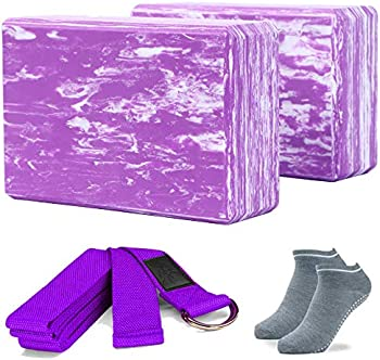 2-Pack Adrimer Yoga Blocks with Yoga Strap
