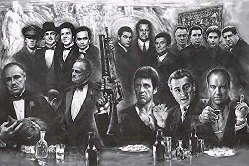 WJWGP Gangster Mafia Schwarz Weiß Leinwand Bild Klassische Tv-Film Seide Stoff Mode Poster Und Kunstdruckt Einfache GemäLde Wandbilder Home Deko 50x70cm No Frame