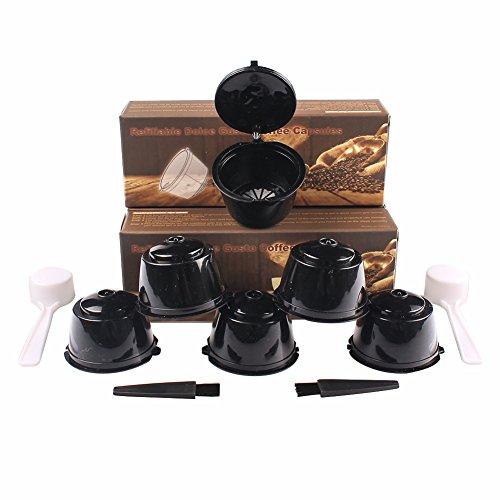 Soleebee i cafilas 6 Stück Kaffee Kapseln Nachfüllbare Wiederverwendbare Kaffeekapsel-Filtertasse Kapsel-Adapter Kaffeekapseln für Dolce Gusto mit 2 Kaffeelöffel und 2 Bürste (Schwarz)