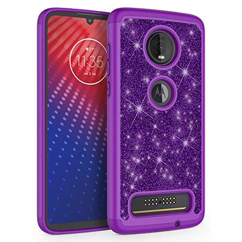 SYONER [Glitter] Protective Phone Case Cover for Motorola Moto Z4 / Moto Z4 Play (6.4', 2019) [Purple]