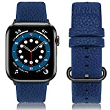 Fullmosa Compatible Correa Apple Watch 42mm serie 3 Cuero,para 14 Colores Correa iWatch SE/Apple Watch 6/5/4/3/2/1 Nike+ Hermes&Edition, Marrón + Hebilla gris ahumado, 42mm