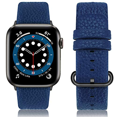 Fullmosa Cinturino per Apple Watch 42 mm/44 mm, Cinturino Pelle Compatibile con Apple Watch Serie SE 6 5 4 3 2 1, Sport, Nike+, Hermès, Edition, Blu Scuro + Fibbia Grigia fumé
