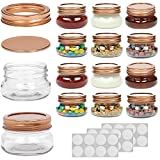 WILLDAN Set of 12 - 4 OZ Mason Jars With Regular Lids Rose Gold Edition - Ideal for Body Scrubs, Lotions, Jam, Honey, Wedding Favors, Shower Favors, Baby Foods, 20 Whiteboard Labels Included