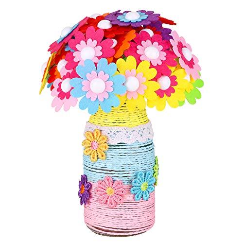LIHAO Bastelset Kinder Craft Kit DIY Vase mit Knopfstrauß Bouquet Kit Handgefertigte Flowers Crafts Felt Ornamente Vase für Jungen und Mädchen