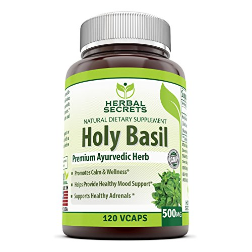 Herbal Secrets Holy Basil 500 Mg 120 Veggie Capsules (Non-GMO)- Promotes Calm & Wellness, Supports Healthy Adrenals, Helps Provide Healthy Mood Support*