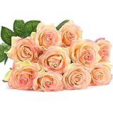 FiveSeasonStuff 造花 バラ 生花みたい リアルな手触り お祝い 飾り 生け花 結婚式 枯れない 多色選択 DIY 10枚入り シャンペン&ピンク#5