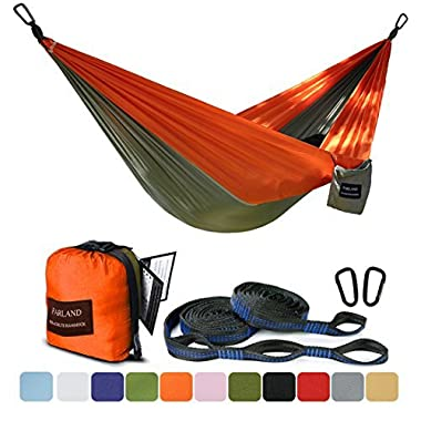 FARLAND Outdoor Camping Hammock - Portable Anti-fade Nylon Double Hammock with 2 Piece 16 Loop Straps by Parachute Lightweight Hammock for Hiking Backpacking