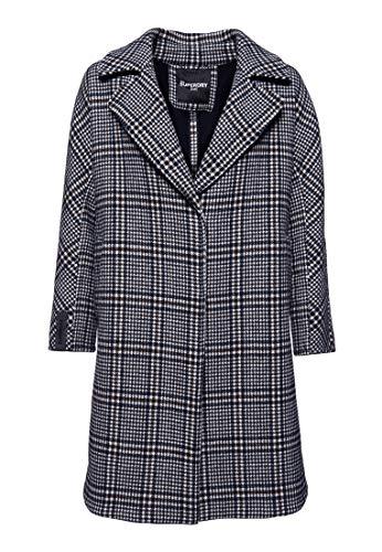 Superdry Damen KOBEN Wool Coat Mantel, Schwarz (Black Check Q22), L (Herstellergröße:14)