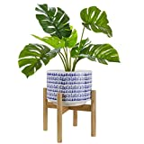 Large Ceramic Plant Pot with Stand - 9.4 Inch Modern Cylinder Indoor Planter with Drainage Hole for Snake Plants, Fiddle Fig Tree, Artificial Plants, Blue & White